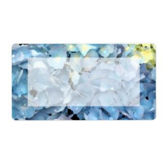 Etiqueta de envío azul de Hydragnea