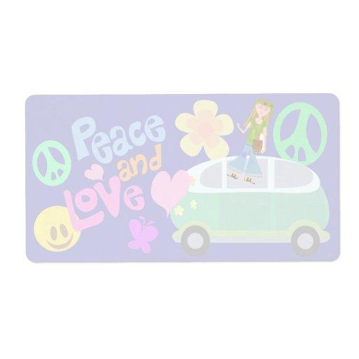 Etiqueta de envío de la paz y del amor