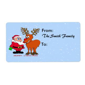 Etiqueta de envío de Santa y de Rudolph