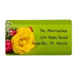 Etiqueta de envío floral del rosa amarillo