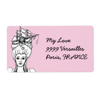 Etiqueta de envío francesa de Marie Antonieta