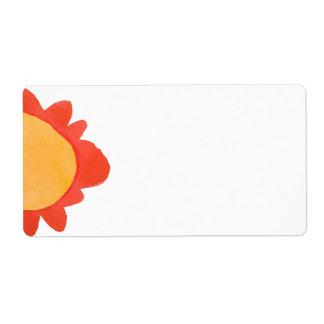 Etiqueta de envío pintada del naranja 1 de la flor