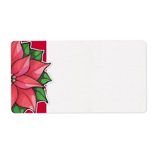 Etiqueta de envío roja de la alegría del Poinsetti