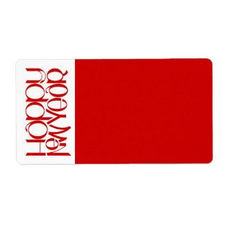 Etiqueta de envío roja de la Feliz Año Nuevo