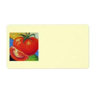 Etiqueta de envío roja del tomate