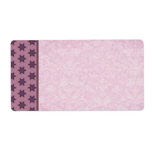 Etiqueta de envío rosada y púrpura del modelo de e