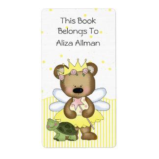 Etiqueta de hadas amarilla del Bookplate del oso Etiqueta De Envío