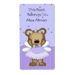 Etiqueta de hadas azul del Bookplate del oso