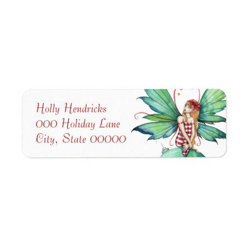 Etiqueta de hadas del remite del pequeño navidad etiquetas de remite