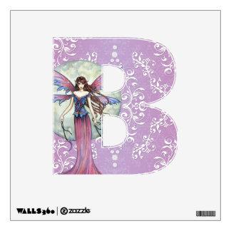Etiqueta de hadas púrpura de la pared de la letra