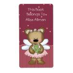 Etiqueta de hadas rosada del Bookplate del oso