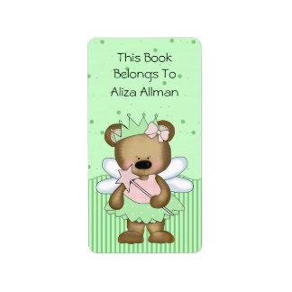 Etiqueta de hadas verde del Bookplate del oso Etiquetas De Dirección