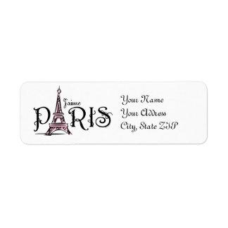 Etiqueta de J'aime París Etiqueta De Remite