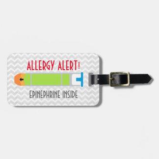 Etiqueta de la alarma de la alergia de la etiqueta de equipaje