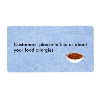 Etiqueta de la alergia del restaurante etiquetas de envío