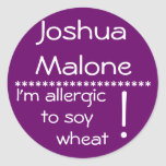 Etiqueta de la alergia del trigo de la soja