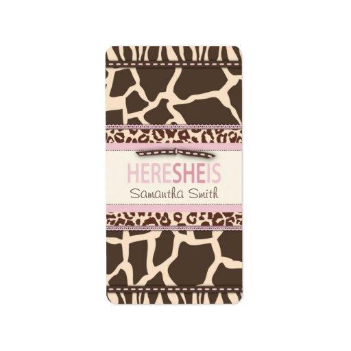 Etiqueta de la barra de caramelo del chica del saf etiquetas de dirección