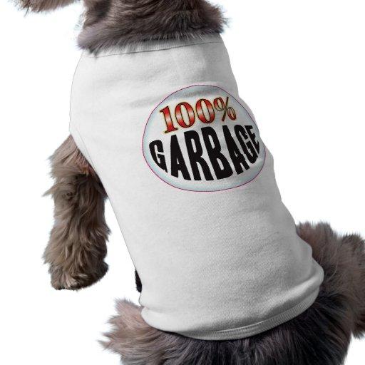 Etiqueta de la basura playera sin mangas para perro