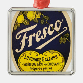 Etiqueta de la bebida del vintage de Limonade Adorno Navideño Cuadrado De Metal