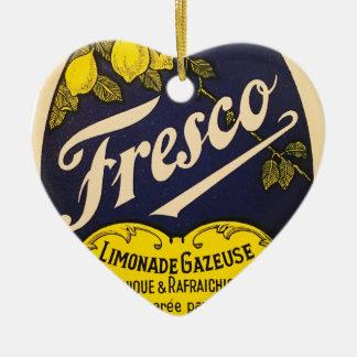 Etiqueta de la bebida del vintage de Limonade Adorno Navideño De Cerámica En Forma De Corazón