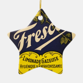 Etiqueta de la bebida del vintage de Limonade Adorno Navideño De Cerámica En Forma De Estrella
