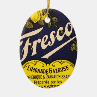Etiqueta de la bebida del vintage de Limonade Adorno Navideño Ovalado De Cerámica