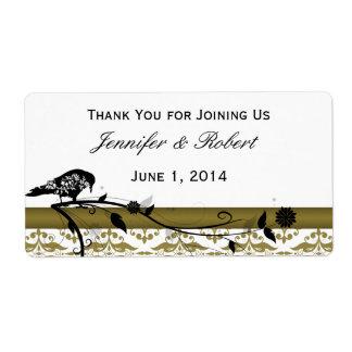 Etiqueta de la botella de agua de los pájaros de etiquetas de envío