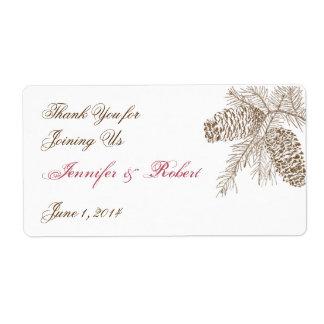 Etiqueta de la botella de agua del boda de la natu etiquetas de envío