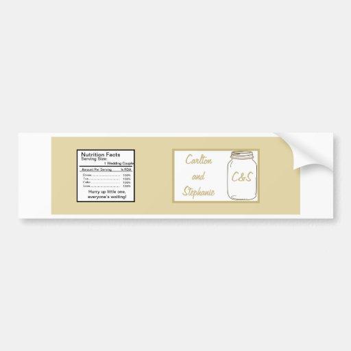 Etiqueta de la botella de agua del boda del tarro  pegatina para auto