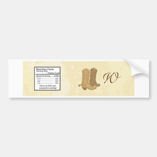 Etiqueta de la botella de agua del boda del vaquer pegatina para auto