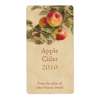 Etiqueta de la botella de la sidra de Apple Etiqueta De Envío