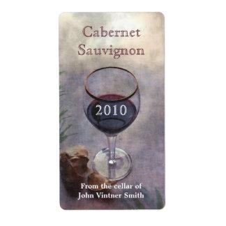 Etiqueta de la botella de vino etiqueta de envío