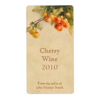 Etiqueta de la botella de vino de la cereza etiquetas de envío