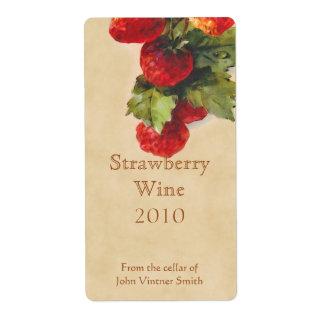Etiqueta de la botella de vino de la fresa etiqueta de envío