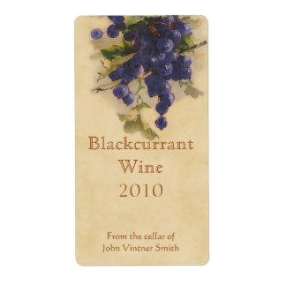 Etiqueta de la botella de vino de la grosella etiquetas de envío