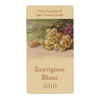 Etiqueta de la botella de vino de la uva blanca etiqueta de envío