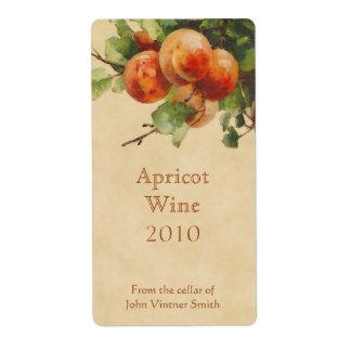 Etiqueta de la botella de vino del albaricoque etiqueta de envío