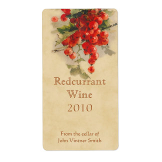 Etiqueta de la botella de vino del Redcurrant Etiquetas De Envío