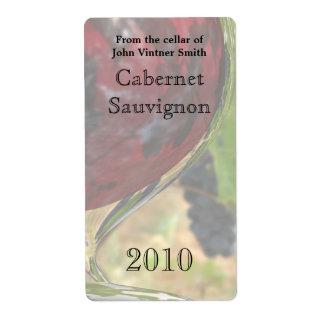 Etiqueta de la botella de vino rojo etiquetas de envío