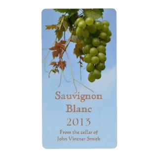 Etiqueta de la botella del vino blanco etiquetas de envío