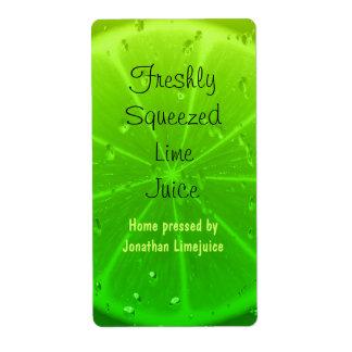 Etiqueta de la botella del zumo de lima etiqueta de envío