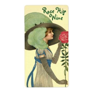 Etiqueta de la botella para los rosas hechos en etiquetas de envío