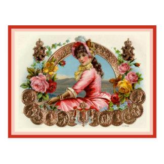 Etiqueta de la caja de cigarros del vintage postales