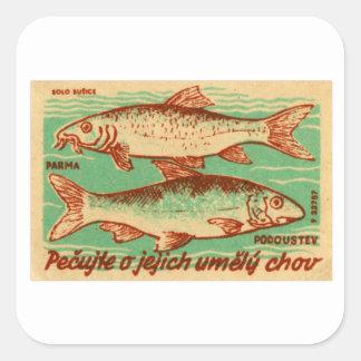 Etiqueta de la caja del partido de los pescados de