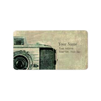 Etiqueta de la cámara del vintage del Grunge Etiqueta De Dirección