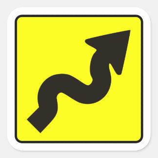 Etiqueta de la carretera con curvas