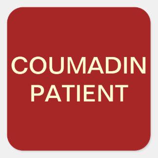 Etiqueta de la carta paciente de Coumadin