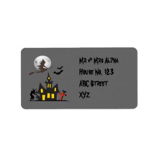Etiqueta de la casa encantada de Halloween Etiqueta De Dirección