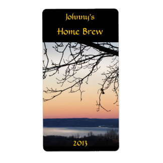 Etiqueta de la cerveza de la puesta del sol del la etiquetas de envío
