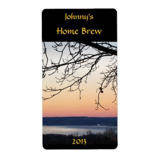 Etiqueta de la cerveza de la puesta del sol del la etiqueta de envío